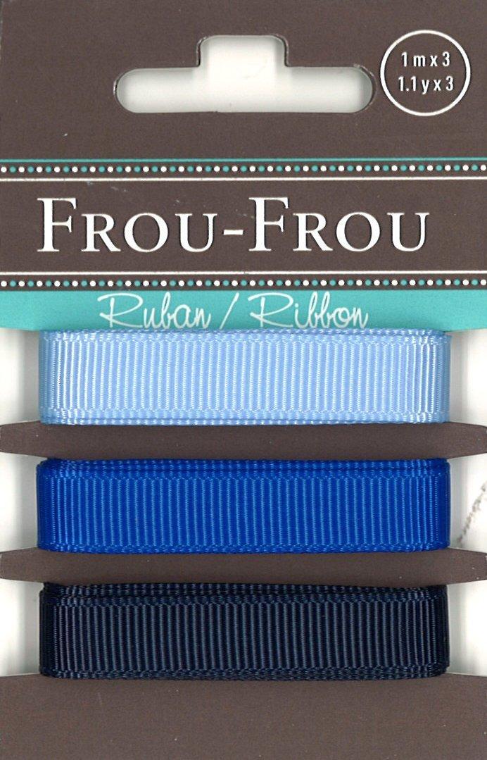Frou-Frou 3 nastri in grograin tonalità blu