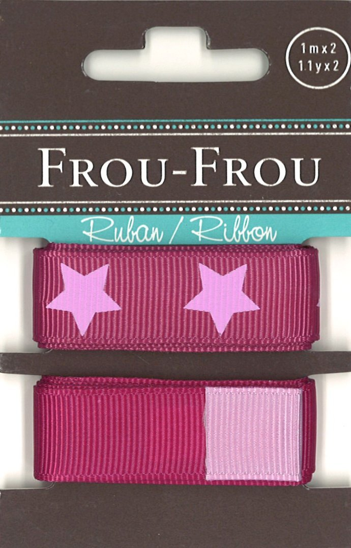 Frou-Frou, due nastri a grana grossa magenta e stellato