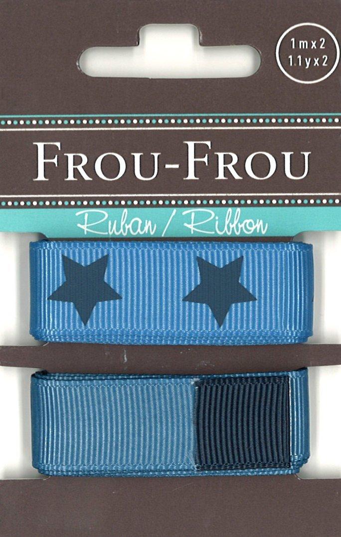Frou-Frou, due nastri a grana grossa blu inverso e stellato