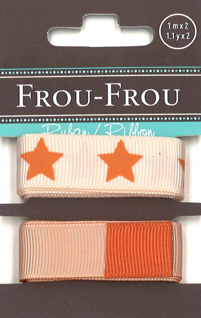 Frou-Frou, due nastri a grana grossa arancione e stellato