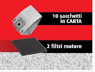 Kit 10 Sacchetti + 2 filtri NH9510
